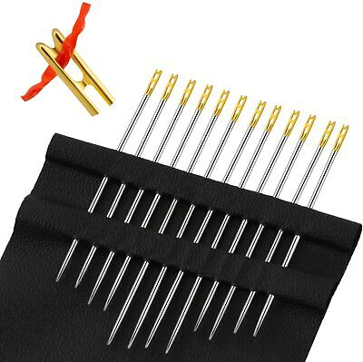 12 Self Threading Sewing Needles - Assorted Sizes - Easy Thread • 2.59£
