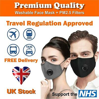 Face Mask Washable Reusable Cotton Fabric  With Respirator & X2 PM 2.5 Filters • 3.99£