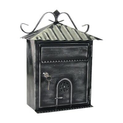 Letter Box, Metal Letter Box Retro Black Vertical Lockable Mailbox, Anti-Ru Q3A6 • 45.99£