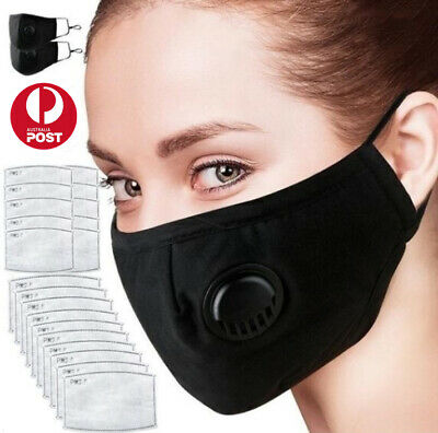 AU9.90 • Buy Fashion Black Face Mask Respirator Or Filters Washable Reusable PM2.5 Filters