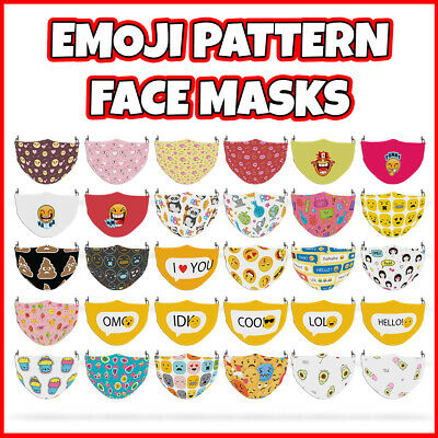 COLOURED Emoji Pattern Face Mask Covering ADULTS MASKS • 7.99£