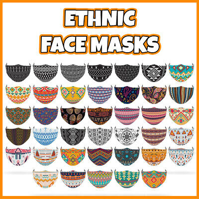 COLOURED Ethnic Pattern Face Mask Covering ADULTS MASKS • 7.99£