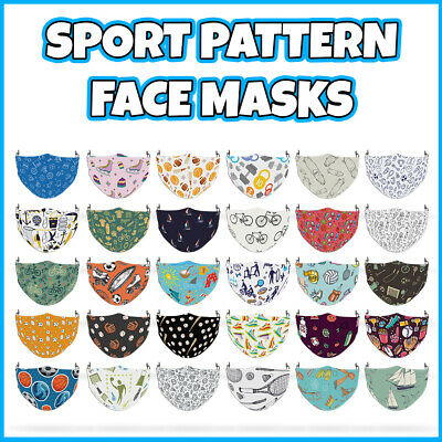 COLOURED Sport Pattern Face Mask Covering ADULTS MASKS • 7.99£