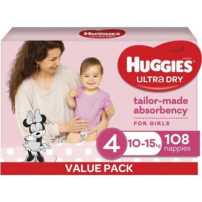 AU40 • Buy Huggies Ultra Dry Nappies Girls Size 4 Toddler (10 - 15kg) - 108 Pack
