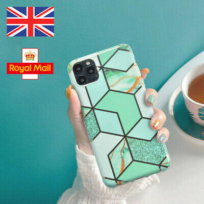 Fashion Plating Geometric Marble Silicone Case For Iphone 11 Pro XS XR 8 7 Plu • 3.59£