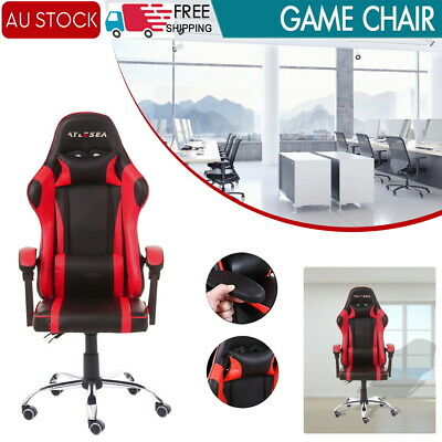 AU124.09 • Buy Gaming Chair Computer Executive Office Racer Recliner Seat Racing PU Leather Red