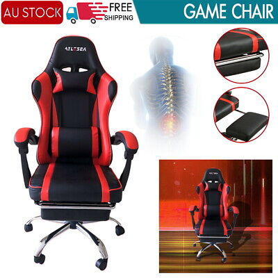 AU143.19 • Buy Executive Gaming Chair Office Computer Seating Racer Recliner Chairs W/Footrest