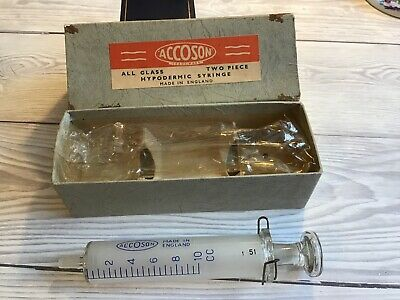 Vintage Boxed ACCOSON All Glass Hypodermic Syringe Two Piece Made In England • 15.99£