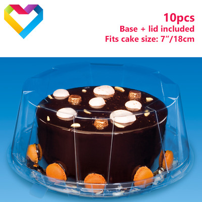 £8.50 • Buy 10pcs Plastic Disposable Cake Clear Box Round Dome And Black Base 7 Inch 18DXN30