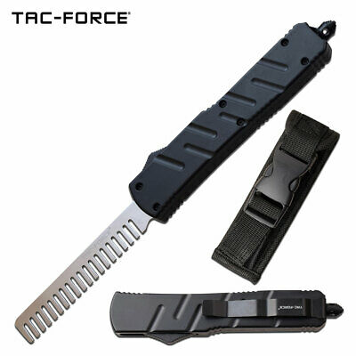 $ CDN49.67 • Buy Automatic Push Button Beard Comb Switchblade Knife Looking Black Tactical Handle