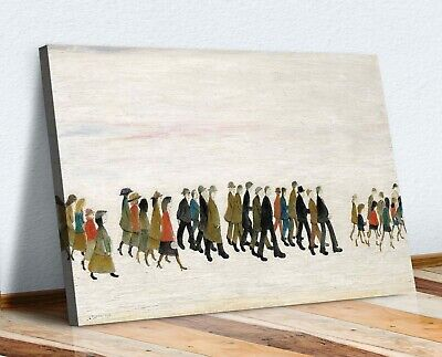 Ls Lowry A Procession People CANVAS WALL ART PRINT ARTWORK PAINTING • 12.99£