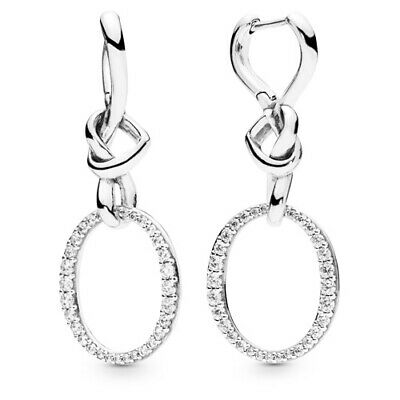 Genuine Pandora Sterling Silver Oval Knotted Heart Drop Earrings -298110CZ • 23.99£