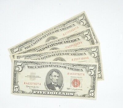 $ CDN27.51 • Buy Lot Of (4) $5.00 Red Seal US Notes Currency Collection $5 1963 Or 1953 *605