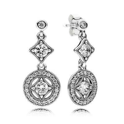 Genuine Pandora Silver Vintage Allure Clear CZ Drop Earrings -290722CZ • 21.98£