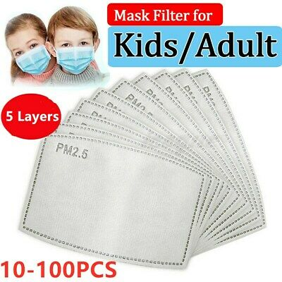 $ CDN12.90 • Buy 10-100X Face Mask Filter Pads 5-Layer Activated Carbon PM2.5 Gaskets Adults/Kids