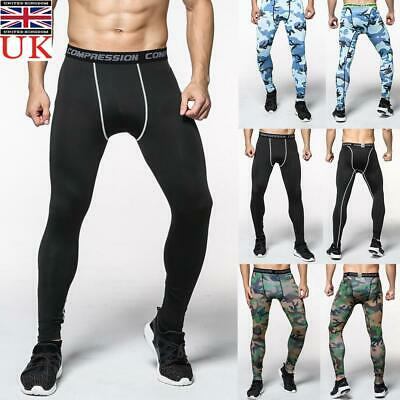 Men Compression Gym Sports Base Layer Pants Leggings Workout Fitness Trousers UK • 8.39£