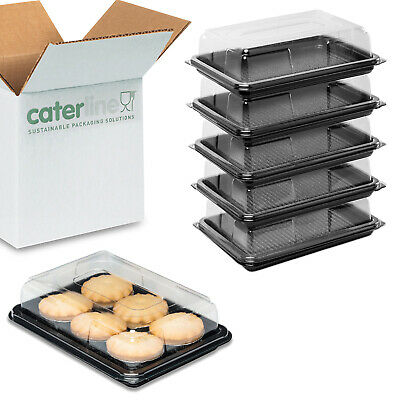 25 X Mini Catering Platters/Trays & Lids | For Sandwiches, Buffets And Parties • 14.99£
