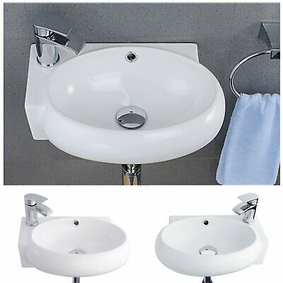 Modern Bathroom Cloakroom Basin Wall Mounted Sink White Ceramic Corner Suit R/L • 34.69£
