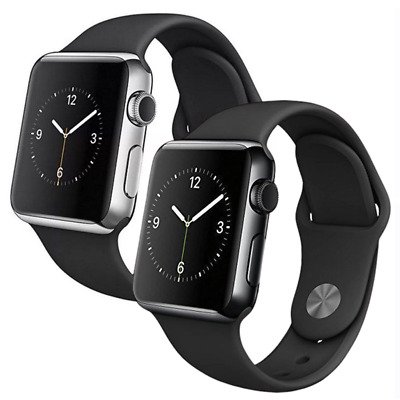 $ CDN224.05 • Buy Apple Watch Series 2 38mm Stainless Steel Or Space Black Case - Black Sport Band