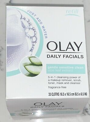AU12.41 • Buy Olay Daily Facials 5 In 1 Gentle Sensitive Clean 33 Dry Cloths Refill