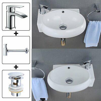 Compact Oval Bathroom Cloakroom Basin Sink Wall Mounted With Tap Waste R/L Hand • 34.99£