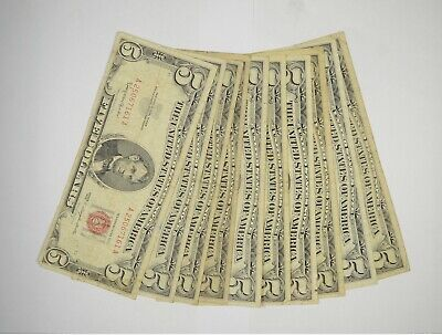 $ CDN76.52 • Buy Lot Of (10) $5.00 Red Seal Old US Notes Currency Collection $5 1963/1953 *362