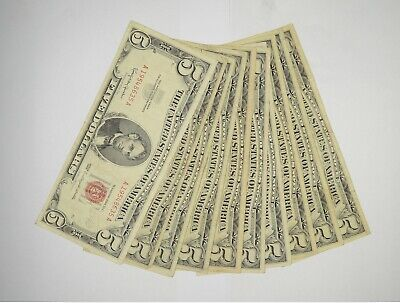 $ CDN83.23 • Buy Lot Of (10) $5.00 Red Seal Old US Notes Currency Collection $5 1963/1953 *361