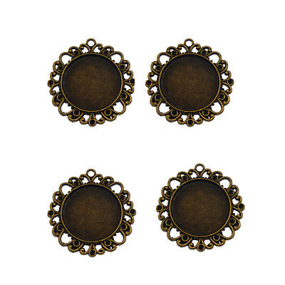 10pcs Antique Bronze Alloy Round Cameo Setting Tray Pendants Charms Crafts 31390 • 2.63£
