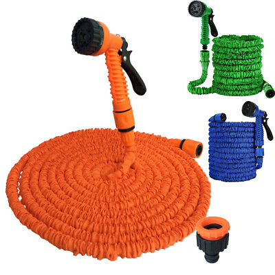 Heavy Duty Garden Flexible Hose Pipe Expandable Stretch Water Spray Gun 50FT 15M • 8.98£