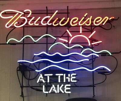 $ CDN478.53 • Buy 32 X24 Budweiser At The Lake Neon Sign Light Bar Pub Wall Decor Nightlight Gift