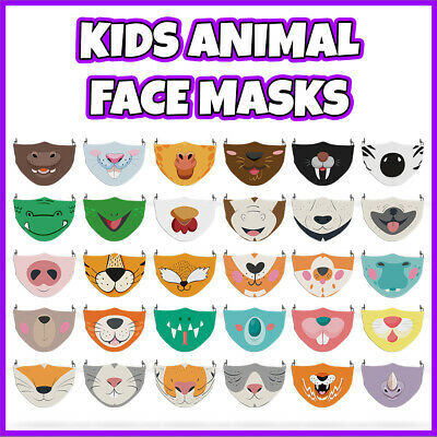 Childrens Animal Face Mask Covering Unisex Reusable Washable Manufactured In UK • 6.99£