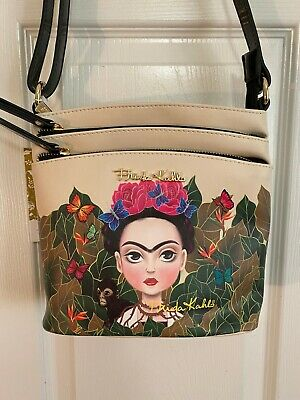 $49 • Buy Authentic FRIDA KAHLO Jungle Theme Multi Compartment Crossbody Bag - BLACK