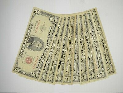 $ CDN90.62 • Buy Lot Of (10) $5.00 Red Seal Old US Notes Currency Collection $5 1963/1953 *363