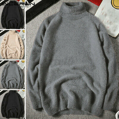 Mens Roll Turtle Neck Shirt Long Sleeve Jumper Warm Knitted Pullover Sweater Top • 18.78£