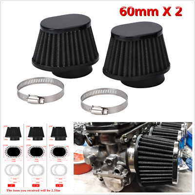 £14.30 • Buy 2X  2.35in/60mm Motorcycle Air Filter Cone Clamp-on Intake Pod Cleaner Universal