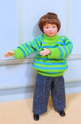 $ CDN18.93 • Buy Dollhouse Miniature  Porcelain Dressed Boy Doll In Green Jersey With Blue Jeans