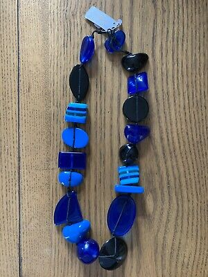 Jackie Brazil Indiana Royal Blue Short Multi Bead Necklace BO033 New With Tags • 42£
