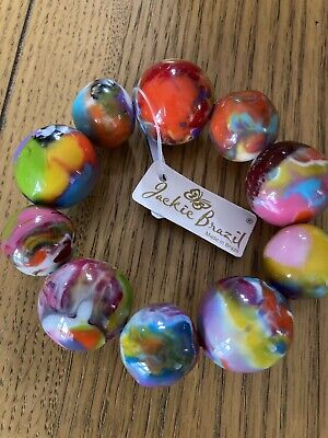 Jackie Brazil Pebbles On Elastic Bracelet Kandinsky Mix B2693 New With Tags • 35£