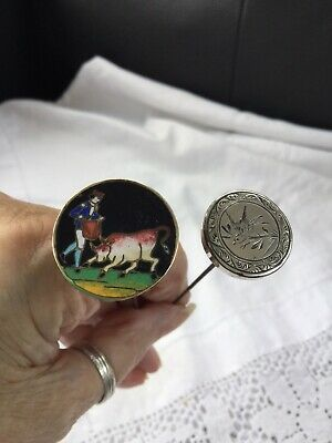 Antique CloisonnÉ Enamel Pretty Matador & Bull Scene/silver Bird Long Hat Pins • 9.99£