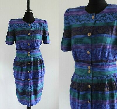 Vintage 1980s Purple Dress Abstract Gold Buttons Power Dressing Wiggle Dress 12 • 4.99£
