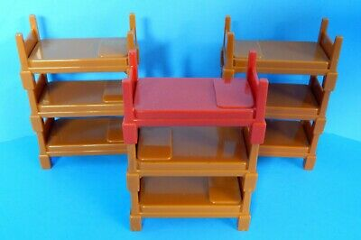 Fisher Price Imaginext Fire Station Stackable Tan Bunk Bed Lot Red Captain Bed • 15.37£