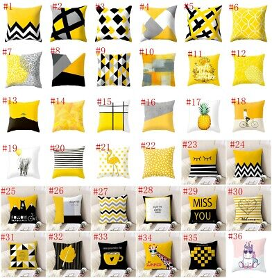 18  Geometric Yellow Throw Pillow Case Waist Cushion Cover Sofa Home Bed Decor • 2.19£