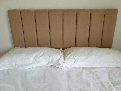 Double Headboard - Faux Suede - Brown - Excellent Condition • 38£