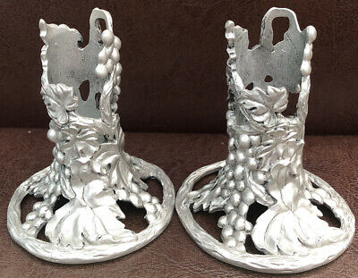£14.99 • Buy Pair Of 1992 Etain Zinn Seagull Canada Pewter Grape Vine / Leaves Candle Holders