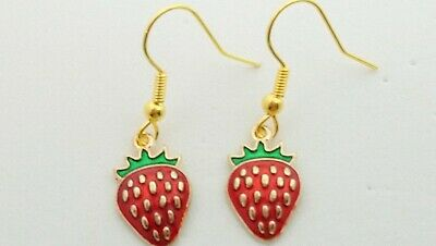 £1.99 • Buy Handcrafted Strawberry Charm Drop Dangle Earrings Novelty Vintage Retro Fruit