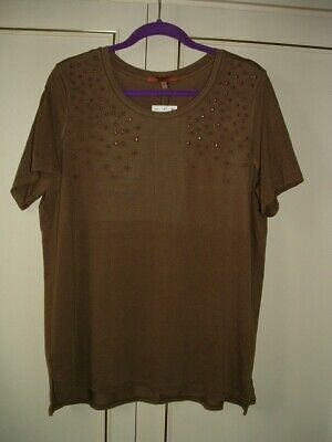 £9 • Buy Clearance ~*next* - Embellished Short Sleeve Top - Mocha-18r-new. Rrp £18