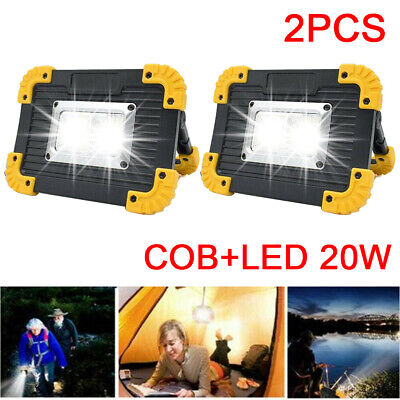 2X LED COB Work Light USB Rechargeable Outdoor Camping Floodlight Emergency Lamp • 12.30£