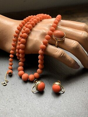 Antique Victorian 18ct Gold Natural Salmon Coral Ring Necklace & Earrings Set  • 975£