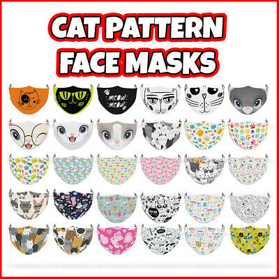 COLOURED Cat Pattern Reusable Face Mask Covering ADULT MASKS • 7.99£