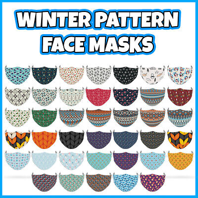 £7.99 • Buy COLOURED Winter Pattern Reusable Face Mask Covering ADULT MASKS